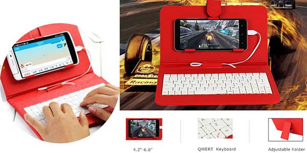 teclado externo con funda para smartphones con clavija micro usb barato