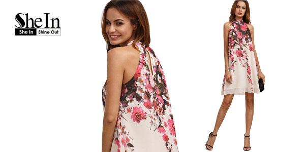 Vestido SheIn con cuello halter estampado floral
