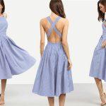 Vestido rayas azules cruzado a la espalda SHEIN chollo en AliExpress