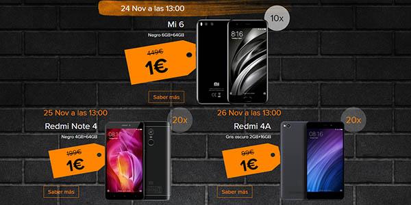 Smartphones Xiaomi por sólo 1€