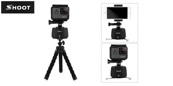 Soporte giratorio con trípode Shoot para grabación 360º de smartphone o cámaras deportivas