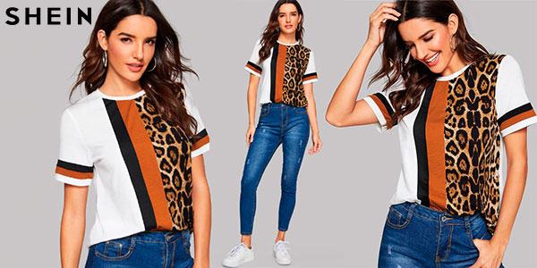 Chollo Camiseta Shein con estampado animal print para mujer