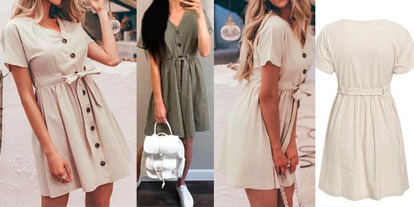 Vestido abotonado para mujer barato