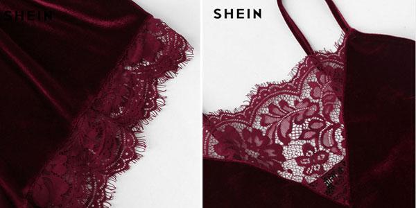 Pijama corto de terciopelo Shein en rojo burdeos para mujer chollazo en AliExpress