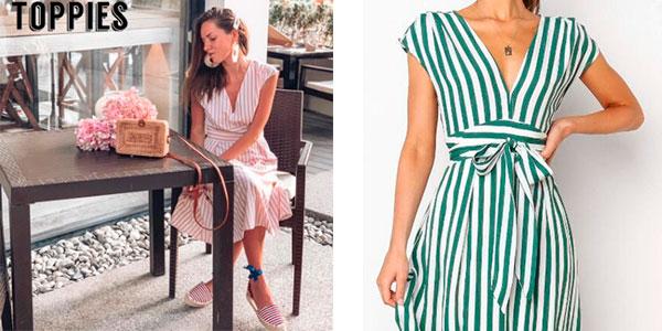 Vestido largo a rayas para mujer barato