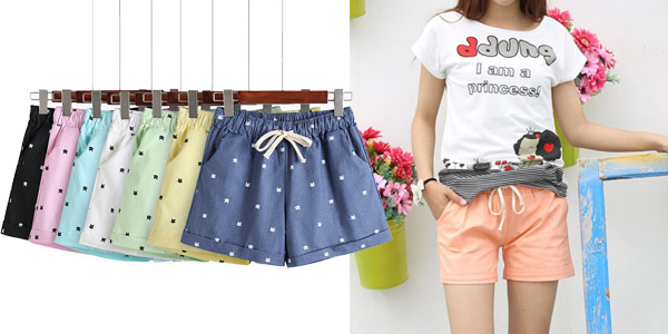 Pantalón corto estampado para mujer barato en AliExpress
