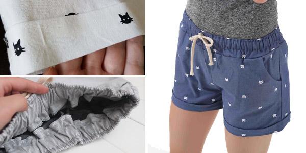 Pantalón corto estampado para mujer chollo en AliExpress