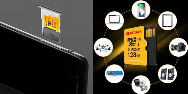 Tarjetas microSD Kodak U3 A1 V30 128 GB chollo en Gearbest