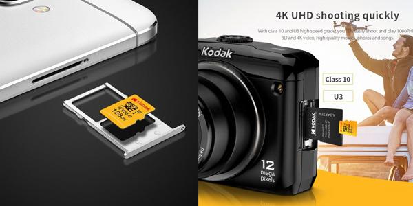 Tarjetas microSD Kodak U3 A1 V30 128 GB chollazo en Gearbest