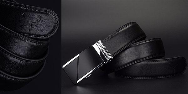 Cinturón de cuero negro para hombre en oferta