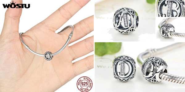 Abalorios plata de ley LETRAS para pulseras Pandora chollo en AliExpress