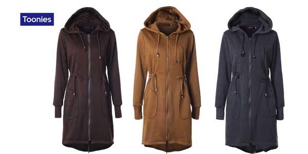 Abrigo ligero de forro polar Toonies con capucha para mujer chollo en AliExpress