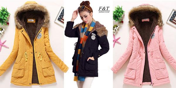 Abrigo de paño con capucha en varios colores para mujer rebajado