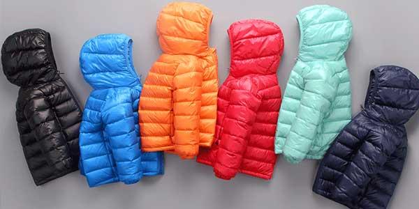 Abrigo acolchado con capucha HH relleno de plumón de pato unisex para niños