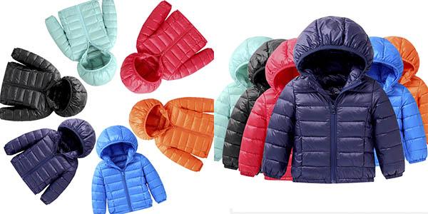 Abrigo relleno de plumón para niños en varios colores