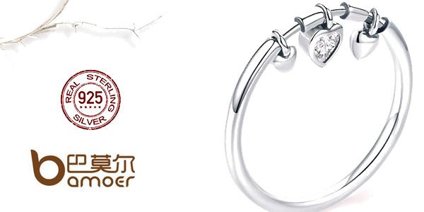 Anillo corazones BAMOER de plata 925 con detalles de circonita barato en AliExpress