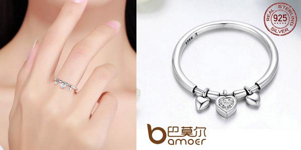 Anillo corazones BAMOER de plata 925 con detalles de circonita chollo en AliExpress