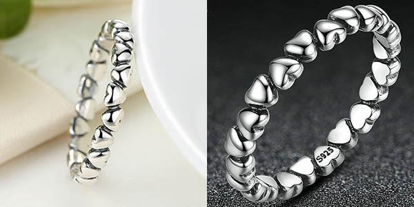 Anillo de plata de ley Bamoer con diseño de corazones