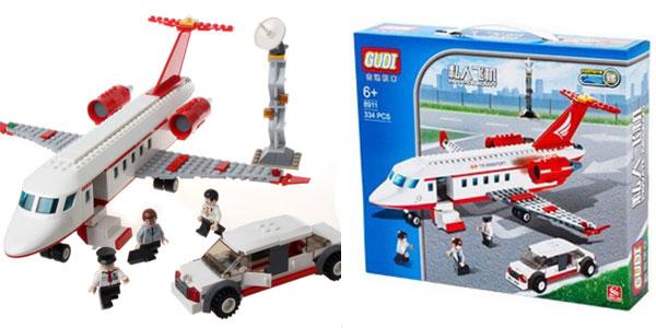 Avión y coche con 3 personajes de estilo LEGO barato
