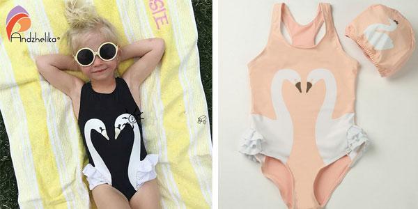 Bañador con gorro Andzhelika en 4 colores para niña barato en AliExpress