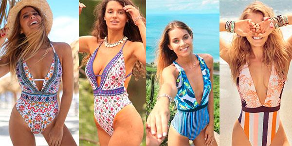 Selección de bañadores Wavecho con escote en V para mujer baratos
