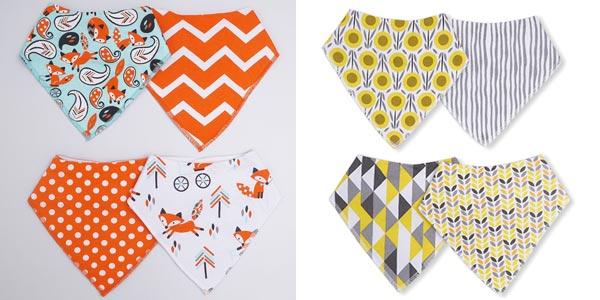 Pack de 4 baberos chulísimos para bebé barato en AliExpress