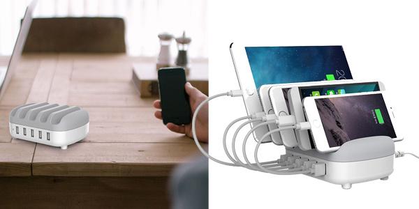 Cargador múltipe ORICO DUK-5P con 5 puertos USB y soporte para smartphones o tablets barato en Zapals