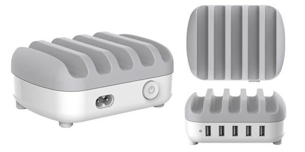 Cargador múltipe ORICO DUK-5P con 5 puertos USB y soporte para smartphones o tablets chollazo en Zapals
