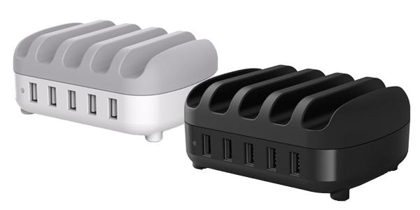 Cargador múltipe ORICO DUK-5P con 5 puertos USB y soporte para smartphones o tablets chollo en Zapals