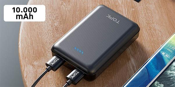 Batería portátil TOPK de 10.000 mAh con 2 puertos USB