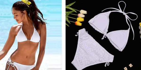 Bikini tipo brasileño de tejido crochet con top push-up