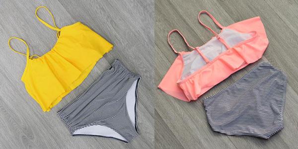 Bikini con braguita de cintura alta y top de volantes en varios colores