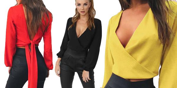 Blusa para mujer anudada a la espalda chollo en AliExpress
