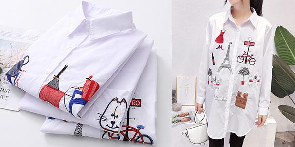 Camisa bordada en varios modelos para mujer barata