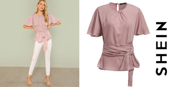 Blusa SHEIN escote plisado para mujer con cinturón en color rosa chollo en AliExpress