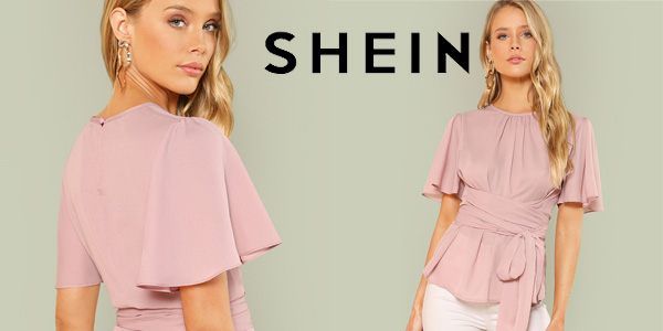 Blusa SHEIN escote plisado para mujer con cinturón en color rosa barata en AliExpress