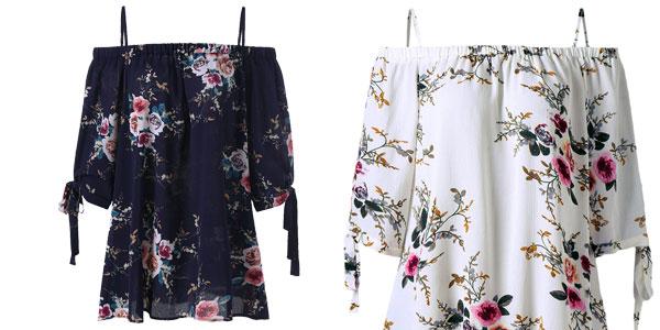 Blusa Gamiss de escote barco con hombros al aire para mujer barata