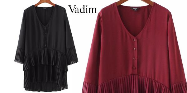 Blusa larga con escote en V y plisado combinado para mujer chollo en AliExpress