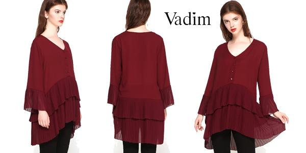 Blusa larga con escote en V y plisado combinado para mujer barata en AliExpress