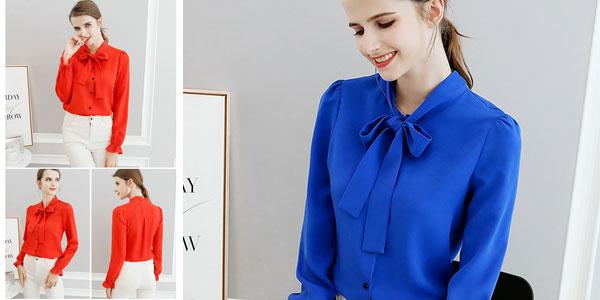 Blusa con lazo para mujer chollo en AliExpress