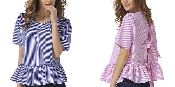 Blusa a rayas de manga corta