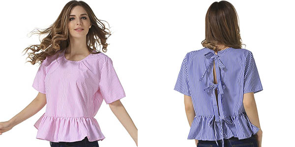 Blusa de manga corta para mujer barata