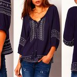 Blusa Shein con cinta bordada suelta de color azul marino para mujer barata