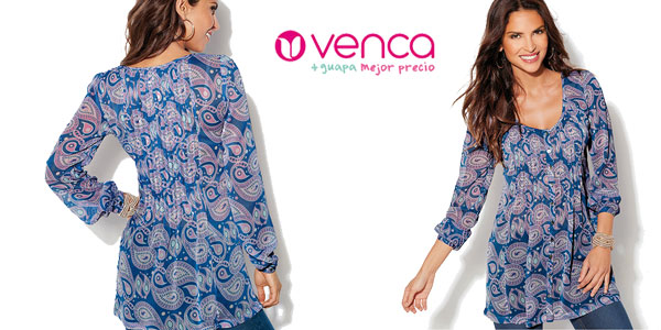 Blusa Venca estampada con botones en la parte frontal disponible en 2 colores