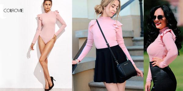 Body Shein con volantes de color rosa para mujer rebajado