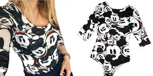 Body de manga tres cuartos con estampado de Mickey Mouse para mujer barato en AliExpress