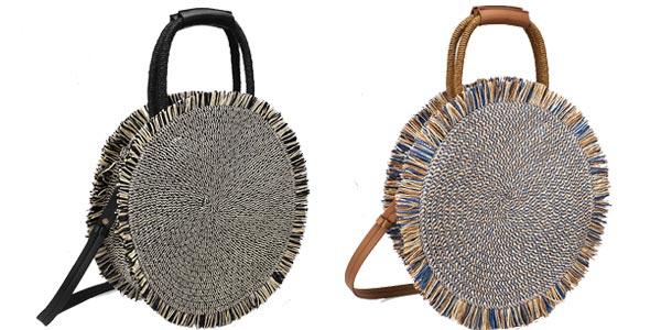 Bolso circular estilo boho de Artmomo con flecos