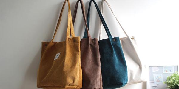 Bolso shopper de pana en seis colores para mujer barato en AliExpress