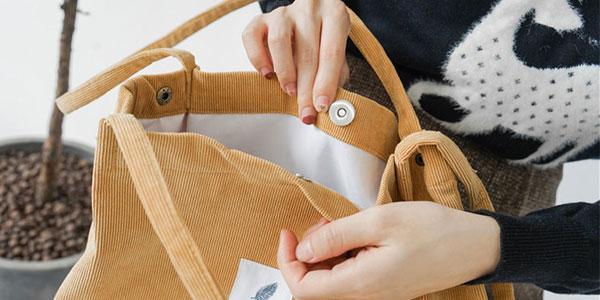 Bolso shopper de pana en seis colores para mujer chollo en AliExpress