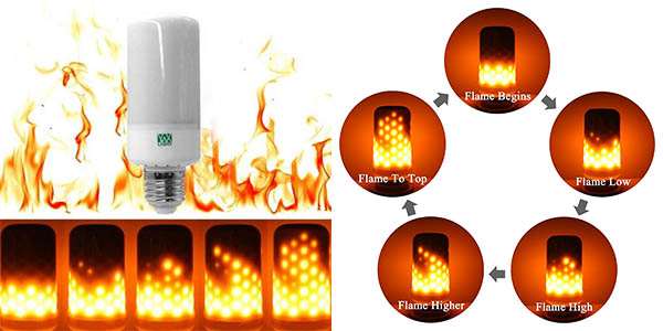 Bombilla LED E27 con efecto llama barata